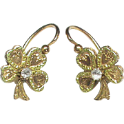 Antique Victorian French 18k bi-color Gold Paste Lucky Four Leaf Clover Earrings