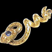 Antique Victorian 18k Gold Snake Pendant