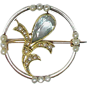 Antique Edwardian Gold & Platinum Aquamarine & Seed Pearl Brooch