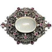 Huge Arts & Crafts Sterling Silver Moonstone & Almandine Garnet Brooch