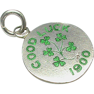 Antique Victorian 1900 Sterling Silver Enamel Good Luck Charm / Pendant by Sampson Mordan