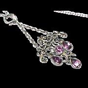 Antique Victorian Silver 800-900 Paste & Marcasite French Pendant Necklace