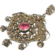 Antique Art Nouveau Sterling Silver Ruby Pendant by Marius Hammer Norway