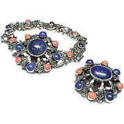 Antique English Arts & Crafts Sterling Silver Lapis Lazuli & Coral Bracelet & Brooch By Zoltan White & Co