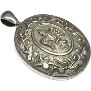 Large Antique Victorian Sterling Silver Locket Pendant