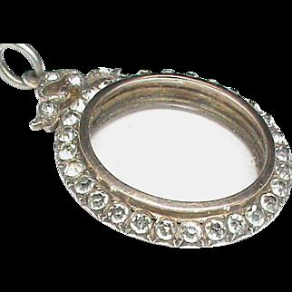 Vintage Art Deco Sterling Silver Paste Double Sided Locket Pendant