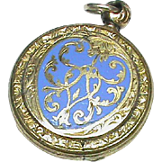 Antique Victorian 9k 9ct Gold Back Front Blue Enamel Heart Locket Pendant