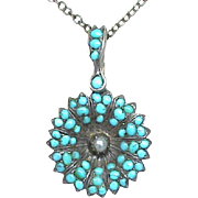 Antique Victorian Sterling Silver Turquoise & seed pearl Flower Pendant Necklace