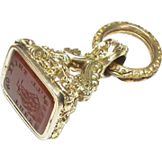 Antique Victorian Gold Fill Seal I'll think on thee SHIP Intaglio & split ring