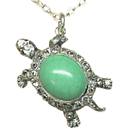 Vintage Art Deco Silver 900 Turquoise & Paste Tortoise Turtle Pendant on a sterling chain