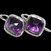Large Antique Georgian Sterling Silver Purple Paste Earrings