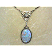 Antique Arts & Crafts Sterling Silver OPAL Necklace