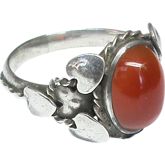 Large Antique Arts & Crafts Sterling Silver Agate Ring