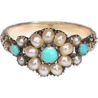 Antique Georgian 10k 10ct Gold Natural Seed Pearl & Turquoise Ring