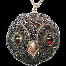 Antique Victorian Garnet OWL Pendant Necklace