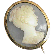 Antique Georgian 18k 18ct Gold Oyster Cameo Brooch of Princess Charlotte