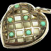Vintage English 1958 9k 9ct Gold & Turquoise pierced HEART Locket Pendant