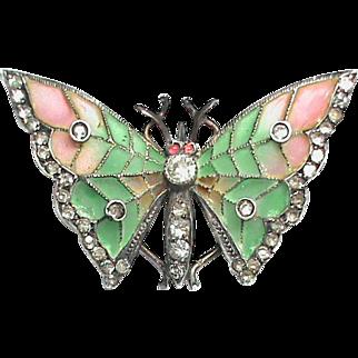 Antique Art Nouveau Sterling Silver 935 Plique-a-Jour Enamel & Paste Butterfly Brooch