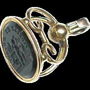Antique Georgian 18k 18ct Gold Eros Intaglio Seal FAITHFUL & SECRET