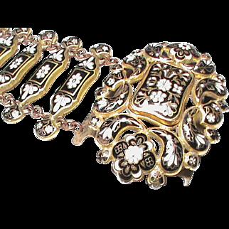 Antique Early Victorian Fine Swiss Enamel Wide Bracelet