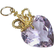 Vintage 9k 9ct Gold Crown Amethyst Heart Pendant