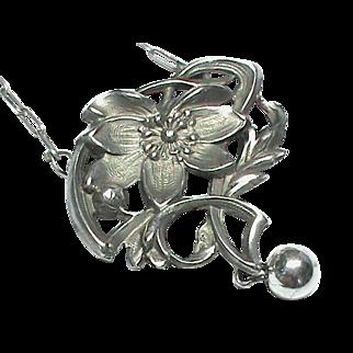 Antique French Art Nouveau Silver 800-900 Necklace