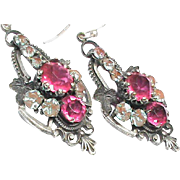 Antique Victorian Saphiret paste Earrings with sterling silver wires