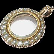 Antique Georgian 9k 9ct Rose Gold & Natural Seed Pearl Locket Pendant