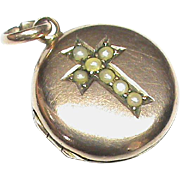 Antique Victorian 1900 9k 9ct Gold Back & Front Seed Pearl Cross Locket Charm Pendant