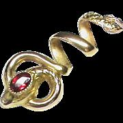 Antique Victorian c1900 18k 18ct Gold Garnet SNAKE Pendant