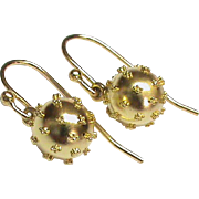 Antique Victorian 15k 15ct Gold Ball Earings
