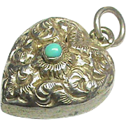 Antique Victorian Sterling Silver Turquoise Heart Charm Pendant with locket back
