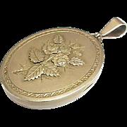 Large Antique Victorian 1881 Sterling Silver gilt Flower Locket Pendant