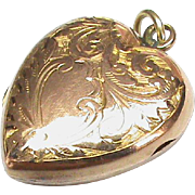 Antique Victorian 9k 9ct Rose Gold Back & Front Heart Photo Locket Pendant