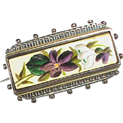 Antique Victorian Sterling Silver Enamel Flower Brooch with Locket at back