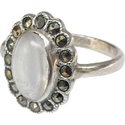 Vintage Art Deco Sterling Silver Moonstone & Marcasite Ring