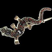 Antique Victorian Garnet Lizard Brooch