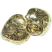 Tiny Antique early Victorian 15k 15ct Gold Etched Heart Locket Charm