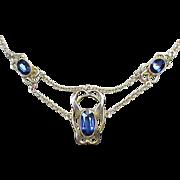 Antique Art Nouveau 9k 9ct Gold & Sapphire Necklace
