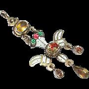 Antique Georgian 18th Century 18k 18ct Gold St Esprit Crystal Enamel & Paste Pendant