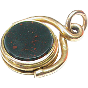 Antique Victorian 15k 15ct Gold Agate Swivel Seal Pendant Fob