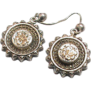 Antique Victorian 1884 Sterling Silver Earrings with gold flowers