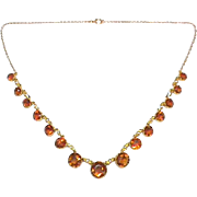 Quality Antique Victorian 9k 9ct Gold Hessonite Garnet & Seed Pearl Necklace