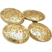 Antique Victorian 15k 15ct Gold Etched Cufflinks