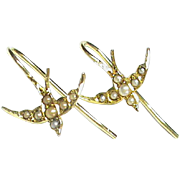 Antique Victorian 18k 18ct Gold Seed Pearl Swallow Earrings