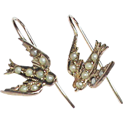 Antique Victorian 9k 9ct Gold Seed Pearl Swallow Earrings