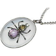 Antique Victorian Sterling Silver Agate Chalcedony Amethyst Citrine SPIDER Pendant Necklace