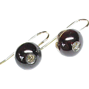 Antique Victorian 9k 9ct Gold Garnet & Diamond Earrings