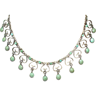 Antique Arts & Crafts Sterling Silver Turquoise Necklace
