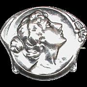 Antique Art Nouveau 1902 Sterling Silver Female Brooch